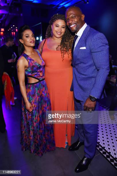 Freema Agyeman Azriel Crews and Terry Crews attend the Entertainment Weekly PEOPLE New York Upfronts Party on May 13 2019 in New York City