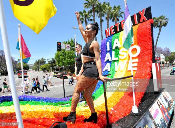 Freema Agyeman is seen on the Netflix original series Sense8 float at the Los Angeles Pride Parade on June 10 2018 in West Hollywood California