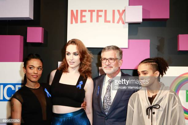 Freema Agyeman Jamie Clayton Peter Barbey and Tyler Ford attend the 2017 Village Voice Pride Awards at Capitale on June 21 2017 in New York City