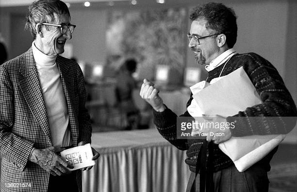 Freeman Dyson from the Institute for Advanced Study shares a laugh with Erik Roffman from Personal Media International/inteem at the annual PC Forum...