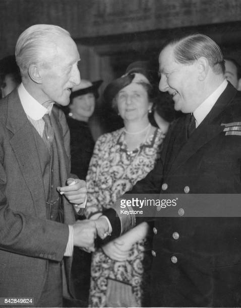 Freeman FreemanThomas 1st Marquess of Willingdon the former Goodwill Envoy to South America greets Admiral Henry Harwood victor of the Battle of the...