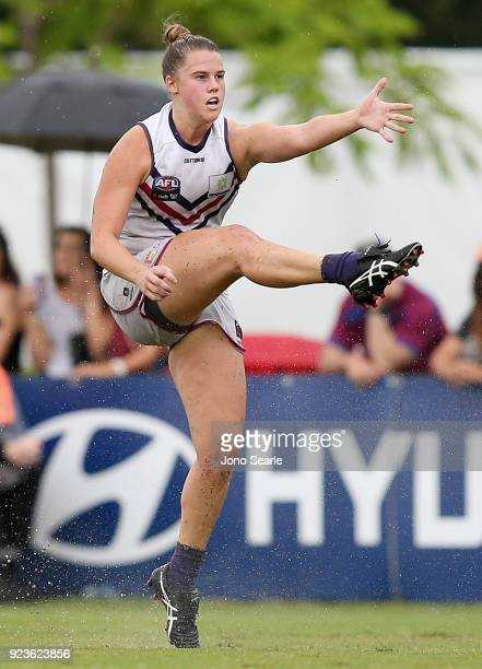 Freemantle player Stacey Barr kicks a goal during the round four AFLW match between the Brisbane Lions and the Fremantle Dockers at South Pine Sports...