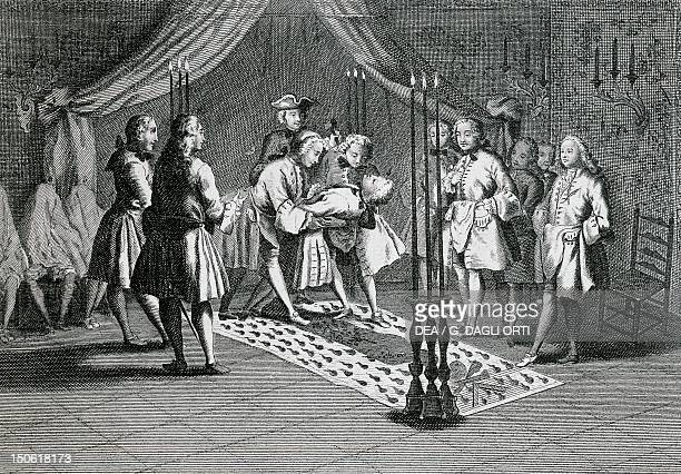 Freemasons meeting to welcome the masters engraving France 18th century