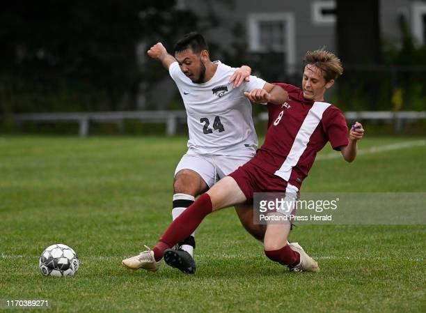 Freeport's Damon Butler and Greely's Aidan Melville battle for the ball Tuesday September 10 2019