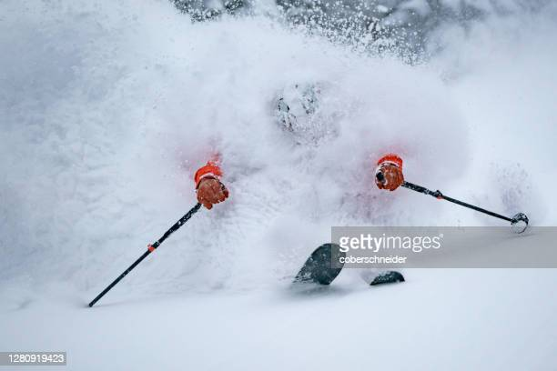 freeride skier covered in snow, werfenweng, st johann im pongau, salzburg, austria - skiing stock pictures, royalty-free photos & images
