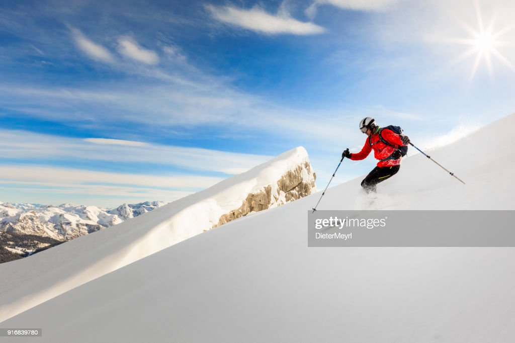 Freerider skier running downhill - Watmann, Nationalpark Berchtesgaden in Alps : Stock Photo