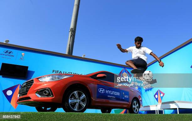 A freestyle artist perform at the Hyundai stand during the FIFA U17 World Cup India 2017 group A match between Colombia and Ghana at Jawaharlal Nehru...