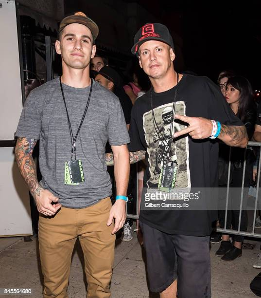Freestyle Motocross riders Anthony Murray and Matt Buyten are seen leaving after performing tricks on their motocross bikes during the FENTY PUMA by...