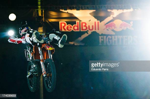 Freestyle motorcycle rider Levi Sherwood performs a maneuver during the Red Bull XFighters 2013 practice ride at Las Ventas bullring on July 19 2013...
