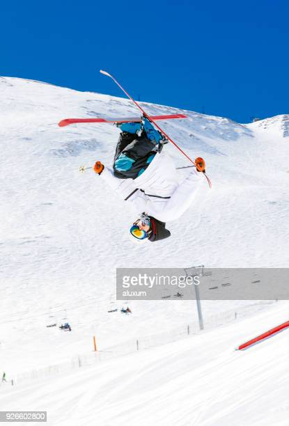 freestyle skier doing an extreme jump - andorra stock pictures, royalty-free photos & images