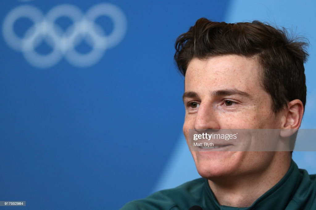Freestyle skier Matt Graham of Australia talks to the media at a press conference the morning after winning the silver medal in the Freestyle Skiing Men's Moguls on February 13, 2018 in Pyeongchang-gun, South Korea.