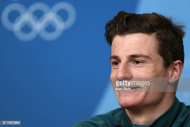 Freestyle skier Matt Graham of Australia talks to the media at a press conference the morning after winning the silver medal in the Freestyle Skiing...