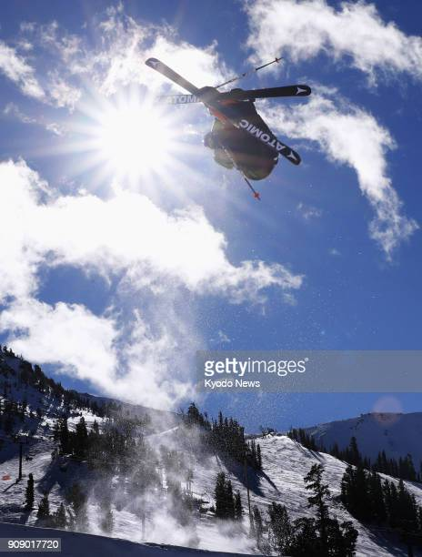 A freestyle skier soars through the air in a World Cup men's slopestyle event in Mammoth Lake California on Jan 20 2018 ==Kyodo