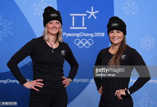 Freestyle skiers Britt Hawes and Janina Kuzma of New Zealand pose for a portrait on February 14, 2018 in Pyeongchang-gun, South Korea.