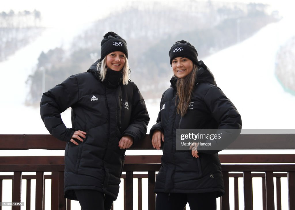 Freestyle skiers Britt Hawes (L) and Janina Kuzma of New Zealand pose for a portrait on February 14, 2018 in Pyeongchang-gun, South Korea.