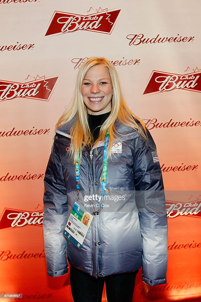 Freestyle skiier Lacy Schnoor arrives at the Club Bud Budweiser Party on February 25, 2010 at the Commodore Ballroom in Vancouver, Canada.