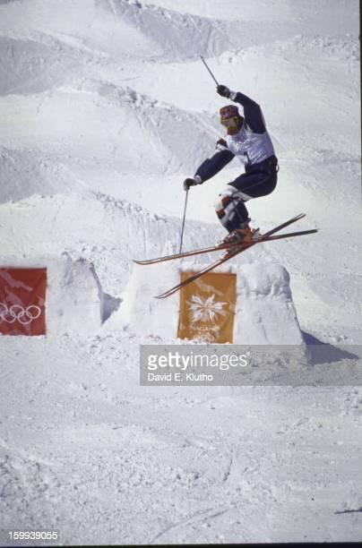 1998 Winter Olympics USA Jonny Moseley in action during Men's Moguls at Iizuna Kogen Resort Iizuna Japan 2/8/1998 CREDIT David E Klutho
