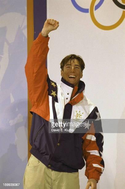 1998 Winter Olympics USA Jonny Moseley victorious during medal ceremony after winning gold medal for Men's Moguls at Iizuna Kogen Resort Iizuna Japan...