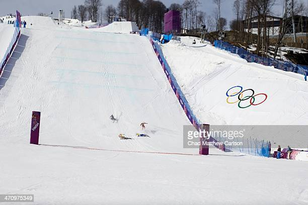 2014 Winter Olympics Canada Brady Leman Russia Egor Koroktov Sweden Victor Oehling Norber and Finland Jouni Pellinen in action falling during finish...