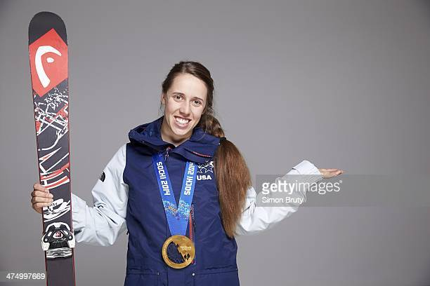 2014 Winter Olympics Portrait of USA Maddie Bowman posing with gold medal for winning Women's Ski Halfpipe during photo shoot at Main Media Center...