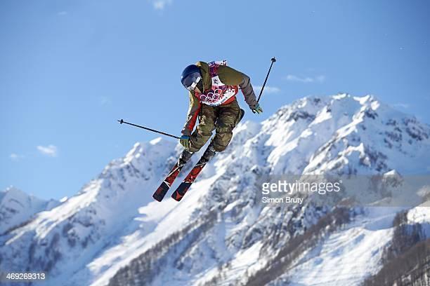 2014 Winter Olympics Switzerland Elias Ambuehl in action during Men's Ski Slopestyle Qualification at Rosa Khutor Extreme Park Krasnaya Polyana...
