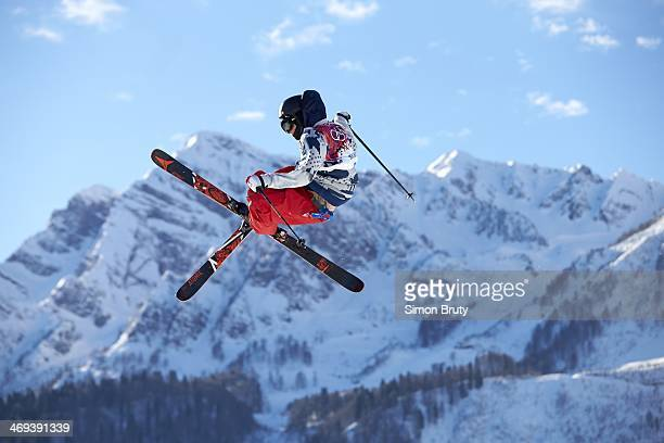 2014 Winter Olympics USA Gus Kenworthy in action during Men's Ski Slopestyle Qualification at Rosa Khutor Extreme Park Krasnaya Polyana Russia...
