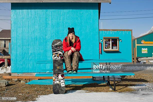 Freestyle snowboarder Estelle Balet is photographed for Marie Claire on March 13 2015 in Haines Alaska United States