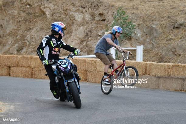 Freestyle star Mike 'Hucker' Clark professional skateboarder Joey Brezinski and Red Bull street freestyle motorsport athlete Aaron Colton participate...