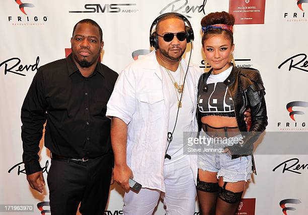 Freestyle Steve Timbaland and AgnezMo attend the Revd Launch Event at Palace Hotel on June 29 2013 in San Francisco California