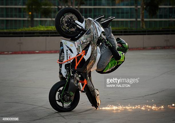Freestyle stunt rider Eric Hoenshell performs a wheelie during the No Limits Stunt Show at the Progressive International Motorcycle Show in Long...