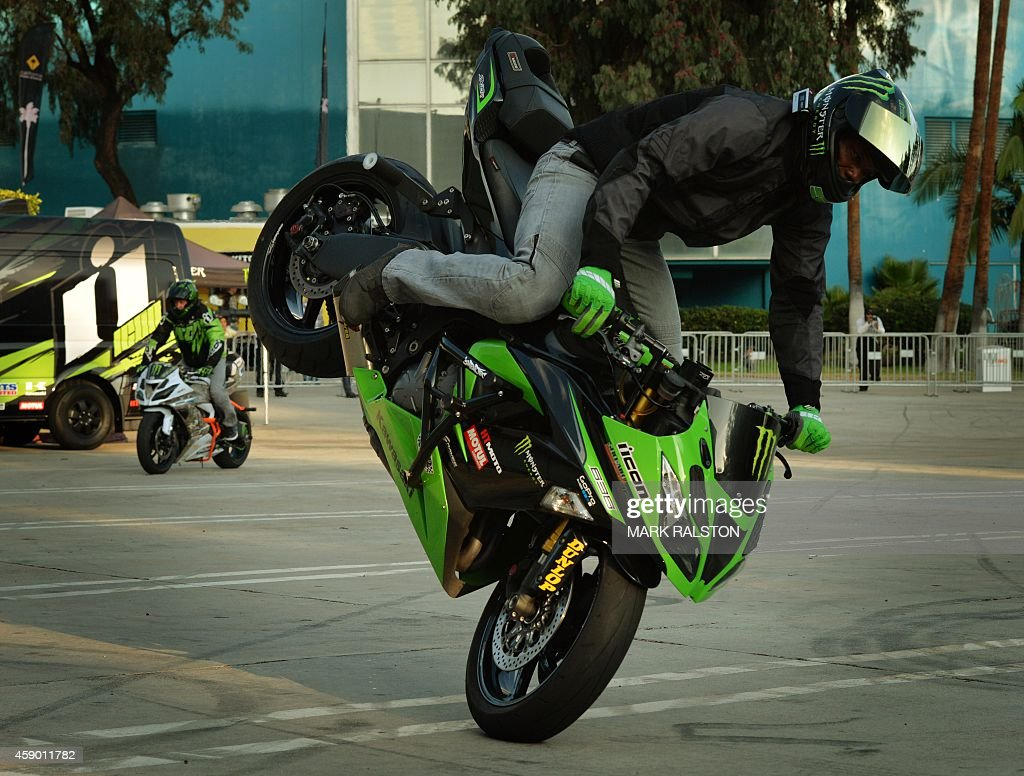 Freestyle stunt rider Jason Britton performs during the No Limits
