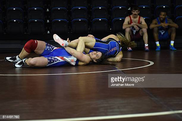 Freestyle wrestling World champions Adeline Gray and Helen Maroulis perform a demonstration during the 2016 Team USA Media Summit at UCLA's Pauley...