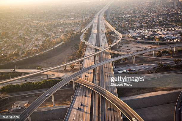 freeway aerial - flyover stock pictures, royalty-free photos & images