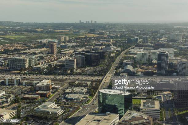 freeway aerial view - irvine california stock pictures, royalty-free photos & images