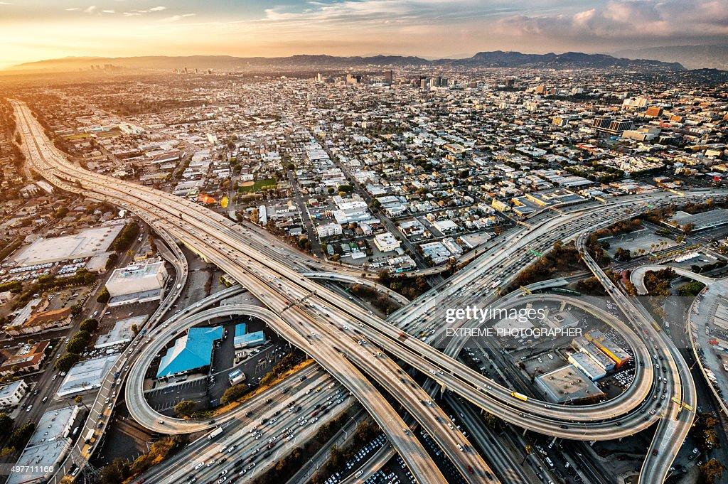 Freeway interchanges at dusk : Stock Photo