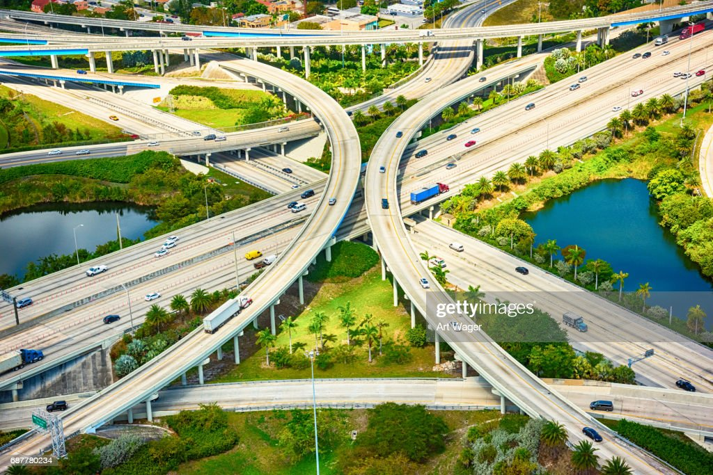 Freeway Intersection Aerial : Stock Photo