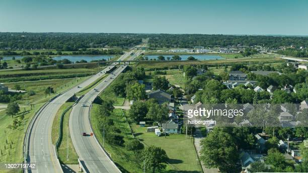 freeway on the edge of lincoln, nebraska - lincoln nebraska stock pictures, royalty-free photos & images