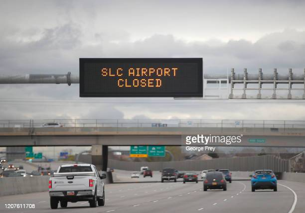 Freeway sign along I-215 announces the closure of the Salt Lake International Airport after an earthquake on March 18, 2020 in Salt Lake City, Utah....