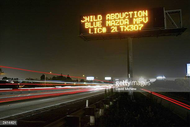 A freeway sign describes a vehicle used by a suspected child abductor in one of two similar but unrelated cases for which Amber Alerts were called in...