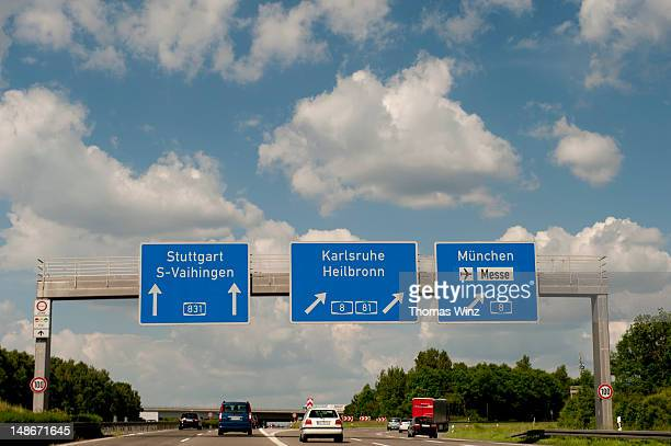 Freeway signs on Autobahn 81.