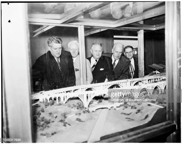Freeway tour, 11 December 1952. Senator Randolph Collier;Senator Clarence C Ward;Harrison Baker ;Herbert R Klocks ;Edward M Gaffney ;George Crone...