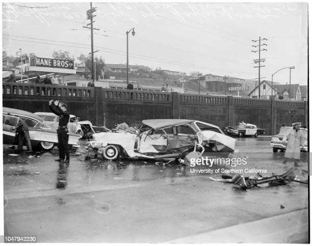 Freeway traffic accident 10 January 1960 Overhead views of four car traffic accidentwreckage of cars involved in collision on inbound lane of...