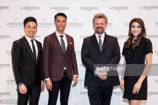 Freeyon Chung Mr Hong Kong 2016 second runnerup Jackson Lai Mr Hong Kong 2016 Christophe Ameeuw founder and CEO of EEM World and Tiffany Lau Miss...