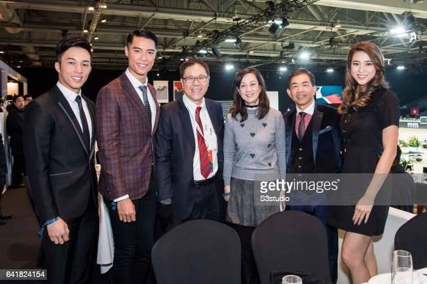 Freeyon Chung Mr Hong Kong 2016 second runnerup Jackson Lai Mr Hong Kong 2016 and Tiffany Lau Miss Hong Kong 2016 first runnerup arrive at the...
