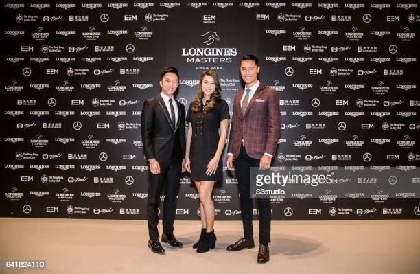 Freeyon Chung Mr Hong Kong 2016 second runnerup Tiffany Lau Miss Hong Kong 2016 first runnerup and Jackson Lai Mr Hong Kong 2016 arrive at the...