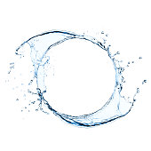 Freeze frame photo of splashing water swirl