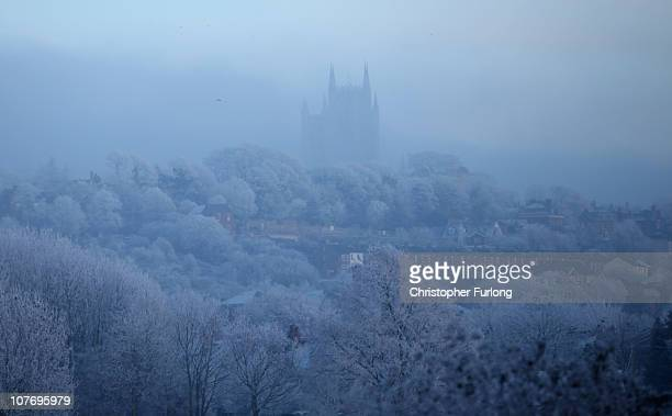 Freezing fog surrounds the tower of Lincoln Cathedral as plummetting temperatures continue to grip the UK on December 20 2010 in Lincoln United...