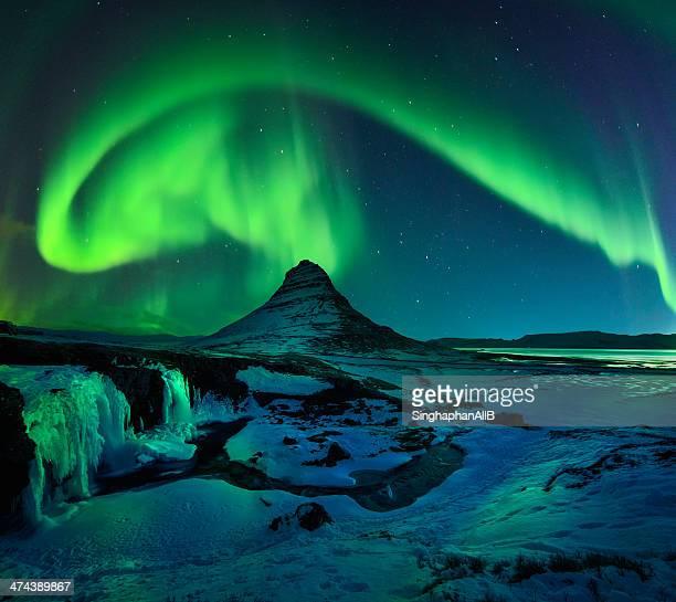 Freezing Kirkjufell and Aurora Storm