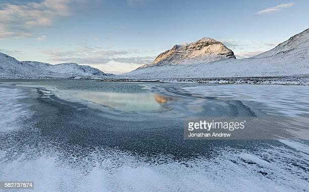 freezing mountain lake in torridon hills of scotland - frozen stock pictures, royalty-free photos & images