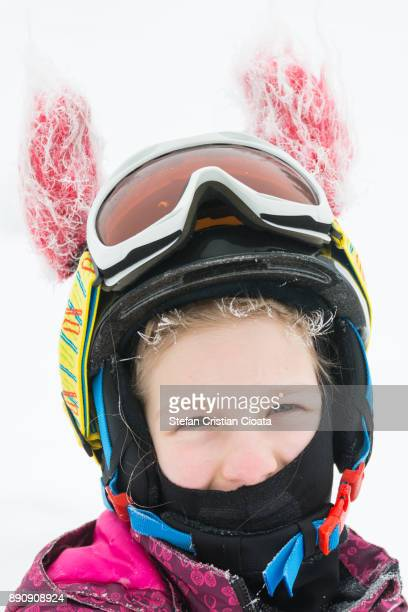 freezing winter girl portrait - ski wear stock pictures, royalty-free photos & images